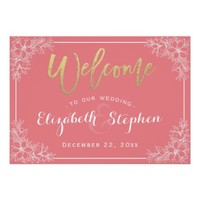 Pink & White Floral Wedding Welcome Reception Sign