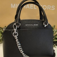 MICHAEL KORS EMMY SMALL DOME SATCHEL CROSSBODY MK BAG LEATHER BLACK SILVER $298