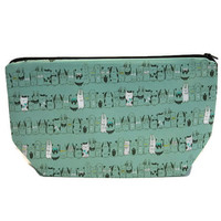 Cat knitting Project bag, Cat Crochet Project Bag, Sloth zippered pouch,  cosmetic bag Toiletry Bag