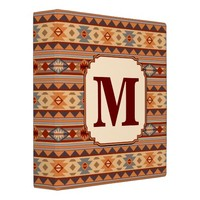 Southwestern Design Tan Monogram 3 Ring Binder