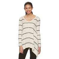 Juniors' Pink Republic Striped V-Neck Sharkbite Sweater