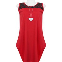Red Lace Embellished Baggy Dress