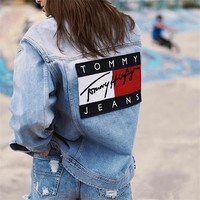 """Tommy Jeans"" Women Casual Personality Fashion Letter Pattern Patch Zip Long Sleeve Loose Denim Cardigan Coat"