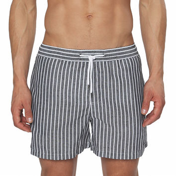 Striped Linen Vintage Mid-Thigh Volley Short