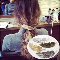 Vintage Women Hairpin Metal Gold Barrette Leaf Clip Girl Feather Hairgrip Antique Spring Ponytail Lady Jewelry Hair Accessories