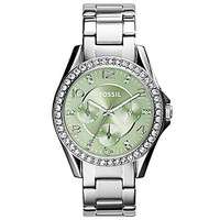 Fossil Ladies' Riley Multifunction Stainless Steel Glitz Case with Gre