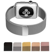 New Milanese Loop Watch Strap For Apple Watch Band 42mm 38mm Silver link bracelet Stainless Steel Woven iwatch watchband
