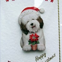 Christmas Card - Happy Christmas Hand-Crafted 3D Decoupage Card - Happy Christmas (1608)