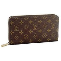 LV hot seller of men's and women's general handbags, fashionable checked long zipper wallets LV pattern coffee