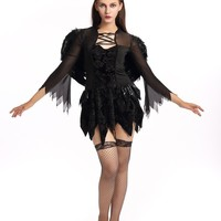 Size M-XXL Dark Angel Cosplay Costume Sexy Carnival Dress Gothic Halloween Costume Devil Vampire Dress With Wings