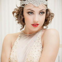 The GREAT Gatsby Headband Inspired Collection 1920s Flapper Applique Bridal - Intricate Beadwork & Diamond Chain Accents