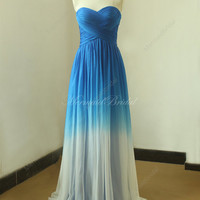 Royal blue Ombre tencel weddin dress, from royal blue to ivory color