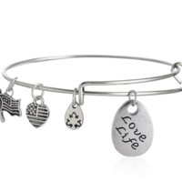 """Alex and Ani style letter """"Love life"""" pattern pendant charm bracelet,a perfect gift !"""