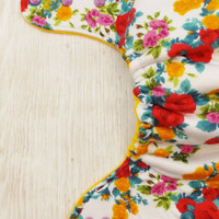 Spring floral hybrid fitted cloth diaper, colorful floral one size diaper