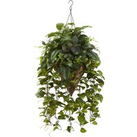 Artificial Flowers -Vining Mixed Greens With Cone Hanging Basket Artificial Plant