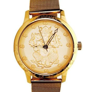 Gold Ganesh and Lotus Engraved Watch by 5Buddhas