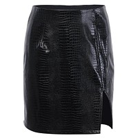 Faux Crocodile Mini Skirt