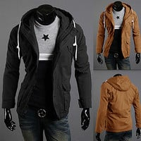 Contrast Drawstring Field Jacket With Hood
