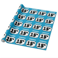 15th Birthday Ornate Frame for Him BLUE R15B Gift Wrapping Paper