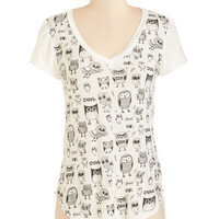 Owls Mid-length Short Sleeves Wise So Serious? Tee