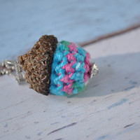 Acorn Necklace Silver Green Pink Blue Crochet Handmade Jewelry Gifts Silver Chain Pendant