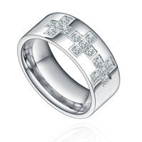 Stainless Steel Cross W. Cubic Zirconia 8mm Ring