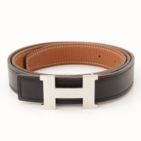 AUTHENTIC HERMES MINI CONSTANCE LEATHER H BELT E BLACK BROWN GRADE A USED -AT