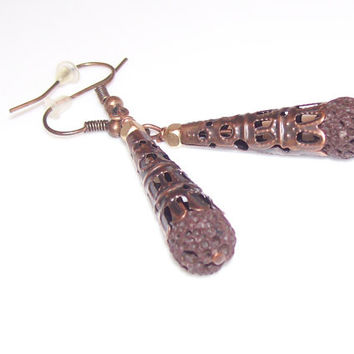 Copper and Lava Rock Personal Diffuser Earrings, Essential Oil Aroma Therapy Earrings, Handmade Dangle Earrings, OOAK, Alternative Medicine