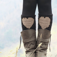 Beige Black Short Heart Knit Boot Cuffs. Love Heart Short Leg Warmers. Crochet heart Boot Cuffs. Legwear black vanilla