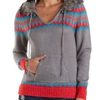 Faux Fur Trim Hooded Sweater by Charlotte Russe - Gray Combo
