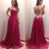 Deep V Prom Dress Lace Red One Piece Dress [4919726404]
