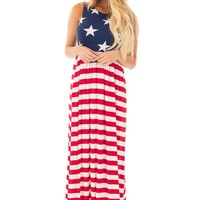 A  Chicloth Country Love American Flag Maxi Dress