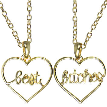 GOLD BEST BITCHES HEART NECKLACE
