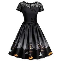 VEZAD Halloween Lace Dress for Women Fashion Vintage Gown Evening Party Dress