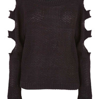 Black Cut Out Sleeve Knitted Jumper at Fashion Union
