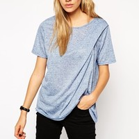 ASOS T-Shirt with Twist Detail in Neppy