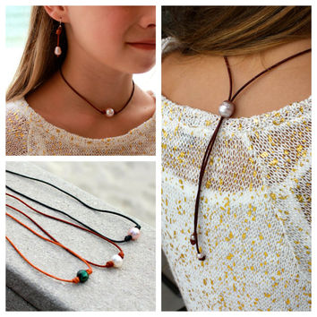 Pearl and leather choker necklace with slide knot