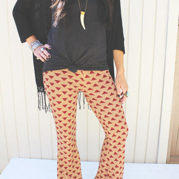 Bell Bottom Pants - Red Trianlges