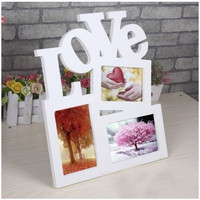 Hollow Love Wooden Family Photo Picture Frame Rahmen White Base Art DIY Home Decor