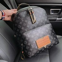 "2020 latest ""Louis Vuitton"" backpack Black Print School Bag"