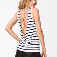 Black Stripe Halter Sleeveless Top