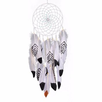 Fashion  Indiana Dream Catcher Net With Feather Circular White Dreamcatcher Wall Hanging Decoration