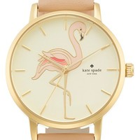 Women's kate spade new york 'metro' flamingo dial leather strap watch, 34mm - Vachetta