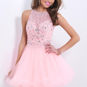 Exquisite New Sexy Pink Tulle Short Homecoming Dresses Lace Beaded Crystals Rhinestones Mini Backless Party Cocktail Gowns