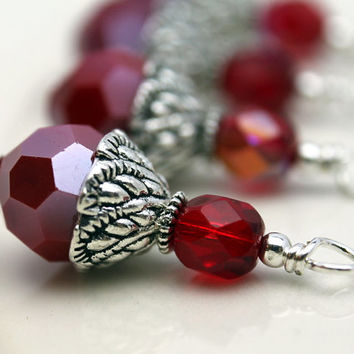 Red Multifaceted Round Crystal and Red AB Czech Bead Dangle Charm Drop Set