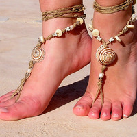 Barefoot sandals, Earth tones with shells and pearl. barefoot sandles, crochet barefoot sandals, , anklet  hippie shoes