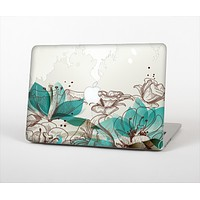 """The Vintage Teal and Tan Abstract Floral Design Skin Set for the Apple MacBook Pro 13"""" with Retina Display"""