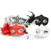 A96 Free Shipping Sexy Venetian Lace Feather Ball Masquerade Mask Paillette Flower Party Eye Masks