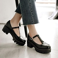 T Straps Women Pumps Buckle Platform Shoes Woman 3401