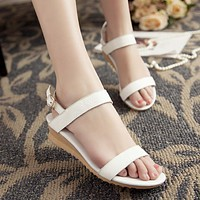 Women Buckle Ankle Strap Genuine Leather Wedge Sandals 7487